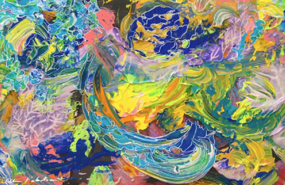 An abstract painting with very bright swirling strokes.