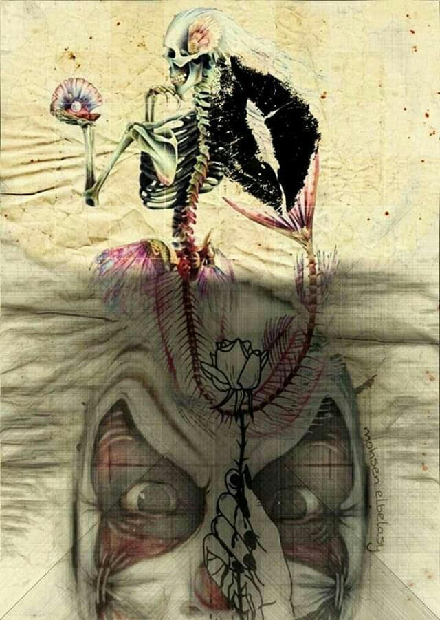 A layered print and drawn image of a clown face with the skin around the eyes forced open, a drawn hand holding a rose in front of the face. There is a skeletal mermaid rising from the beneath the rose bloom that is holding a pearl in a shell. There is a kiss imprint in black on the back and neck of the mermaid skeleton.