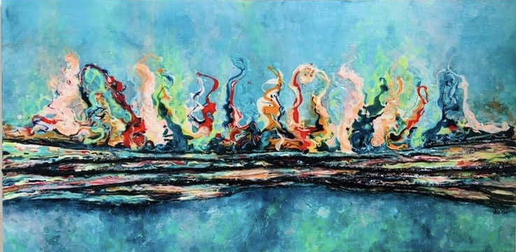 An abstract piece of art resembling multicolored flames.