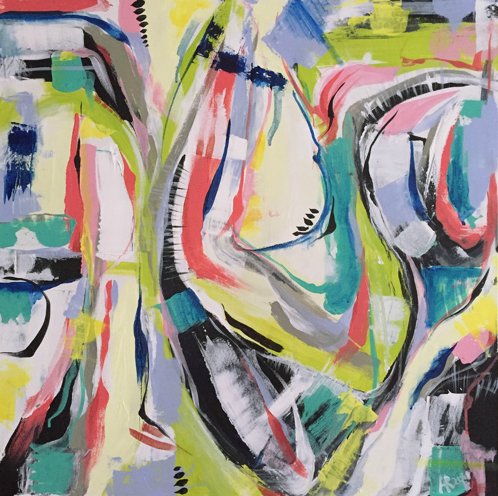 An abstract painting witih a lot of bright strokes.