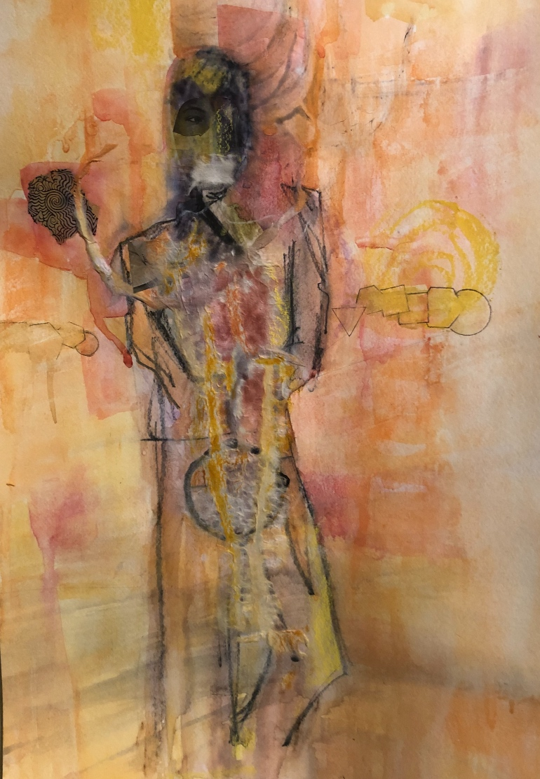An abstract painting of a dark figure ahead of a bright background.