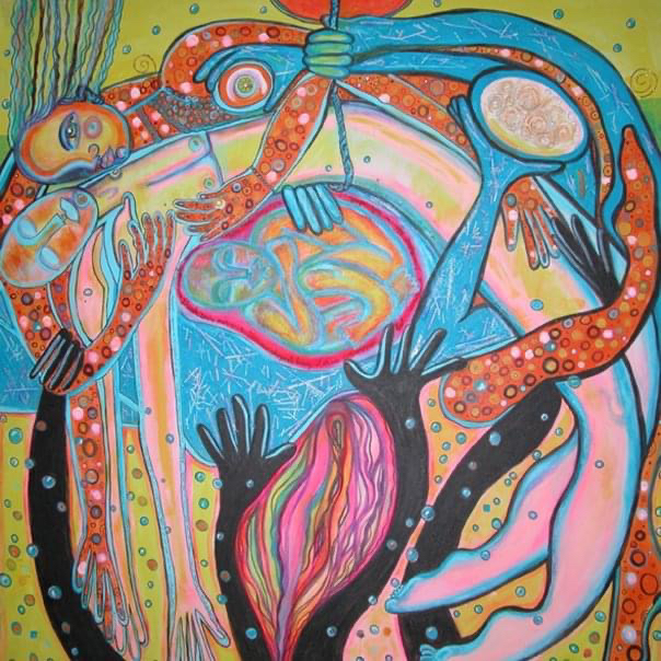 An abstract painting of several figures hugging in a semicircle.