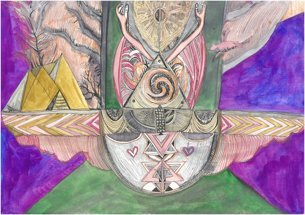 An abstract painting of some mystical looking shapes and two arms emerging from a pyramid in the center.