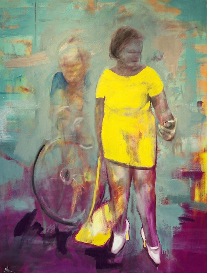 A painting of a woman on the street, on her phone, an older woman riding by on a bike.