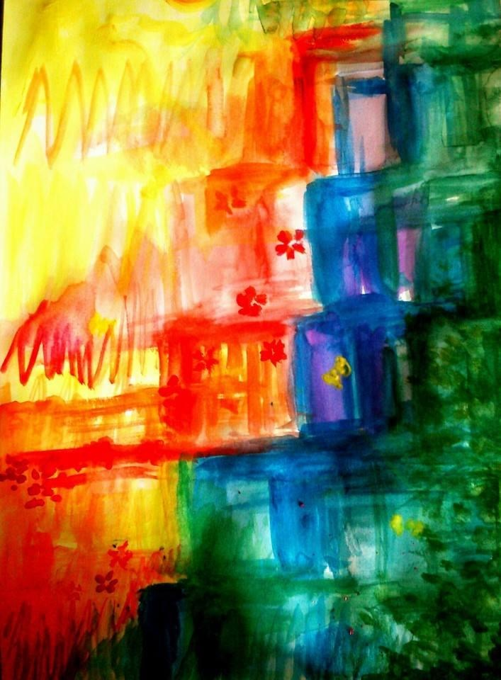 An abstract painting with several colors appearing like stairs.