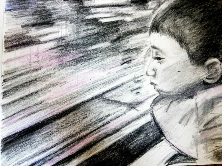 A sketch of a young boy looking out the window with his face reflecting.