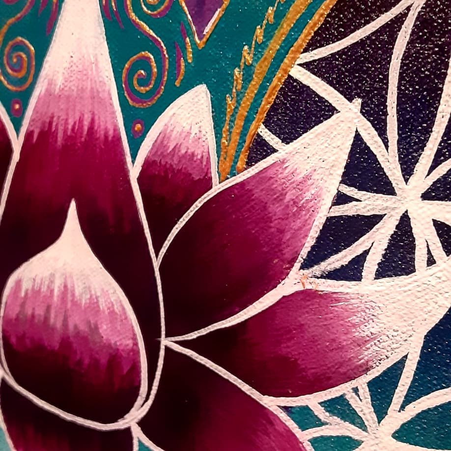 A painting of a lotus flower in the foreground, with some sacred geometry behind.