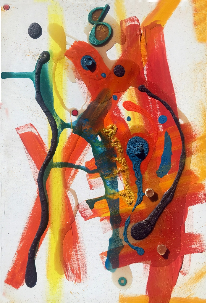 An abstract painting resembling frequenies and mechanics.