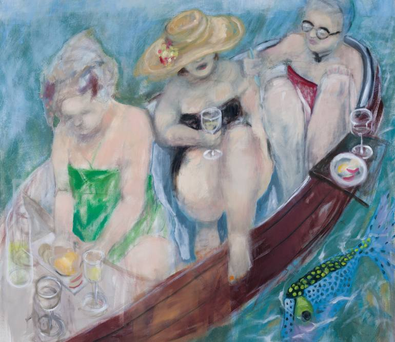 A painting of three women picnicking in a small boat.