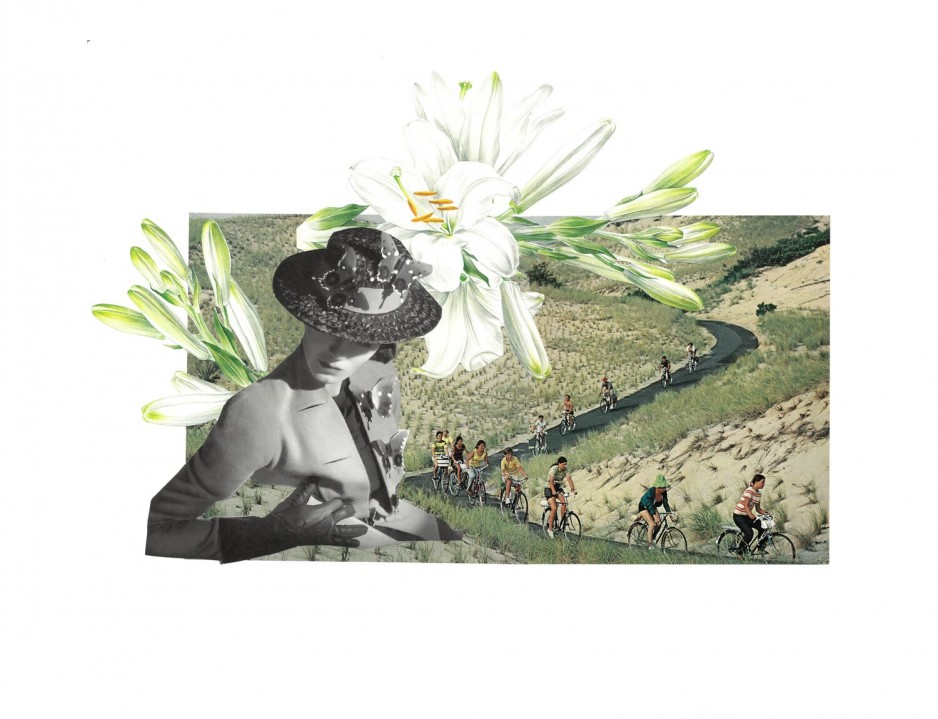 A collage featuring a downcast woman and cyclists in the background.