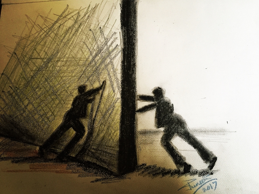 An drawing of two figures pushing the same wall from opposing sides.