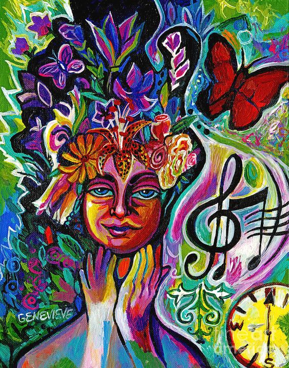 A colorful painting of a figure surrounded by butterflies, flowers and a musical note.