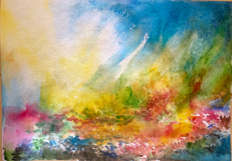An abstract painting with bright colors and white light.