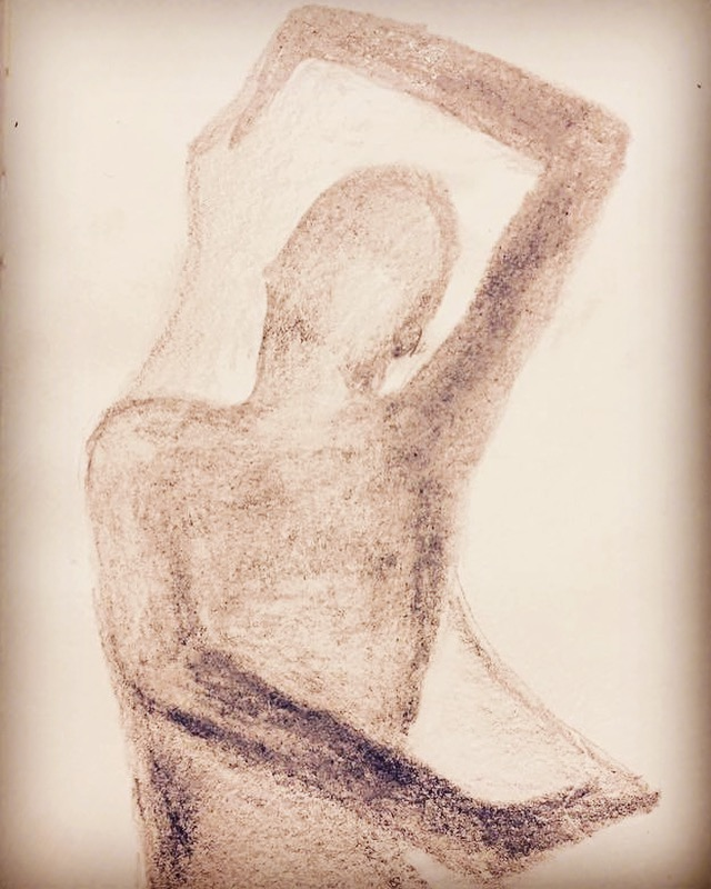 An abstract portrait of a person or energy body.