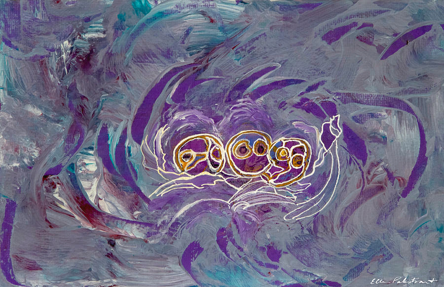 An abstract painting with three figures in the center surrounded by what resemble clouds of gray and purple.