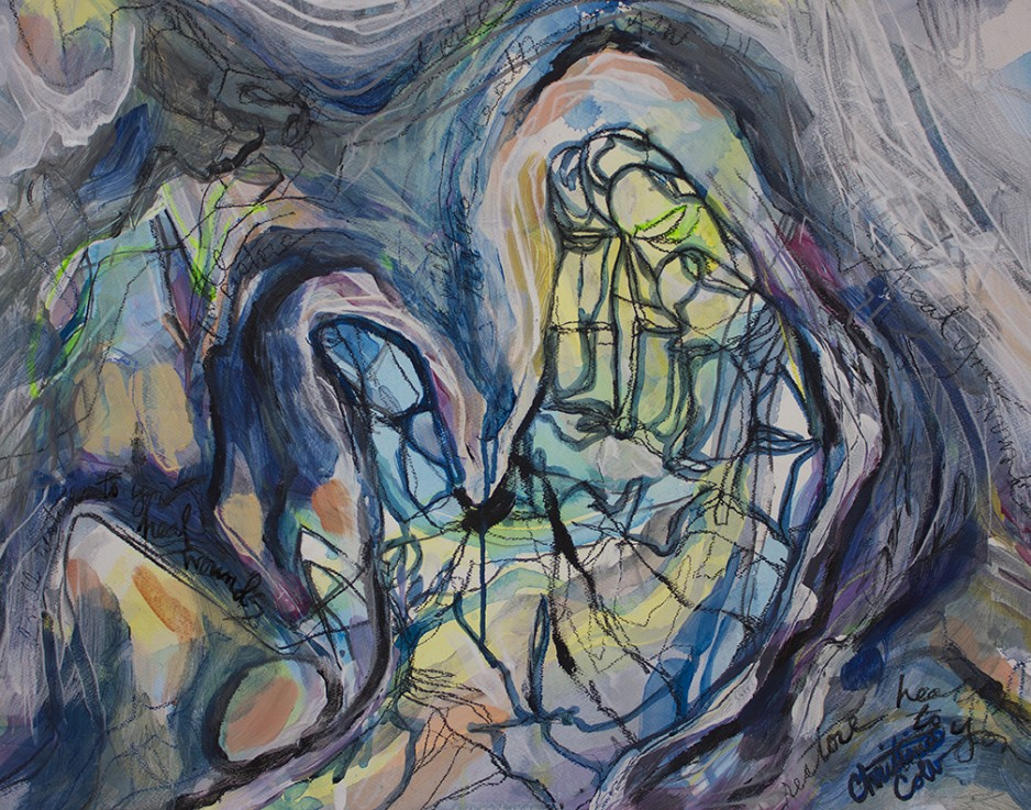 An abstract painting featuring a hand.