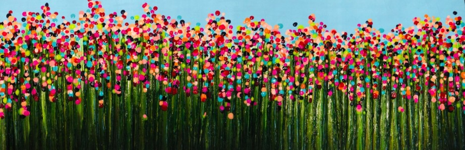 A painting of an extra colorfield field, desnly occupied with plants beings of the same variety.